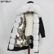 OFTBUY ملابس خارجية مضادة للماء X طويلة سترة معطف الفرو الحقيقي الشتاء سترة النساء الطبيعية الراكون الفراء طوق الثعلب الفراء بطانة انفصال