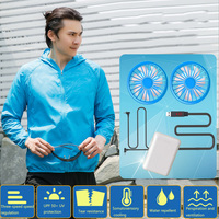 Unisex Hooded Sun Protection Air Conditioning Coat Ventilation Breathable Hiking Waterproof USB Smart Jacket With Cooling Fan
