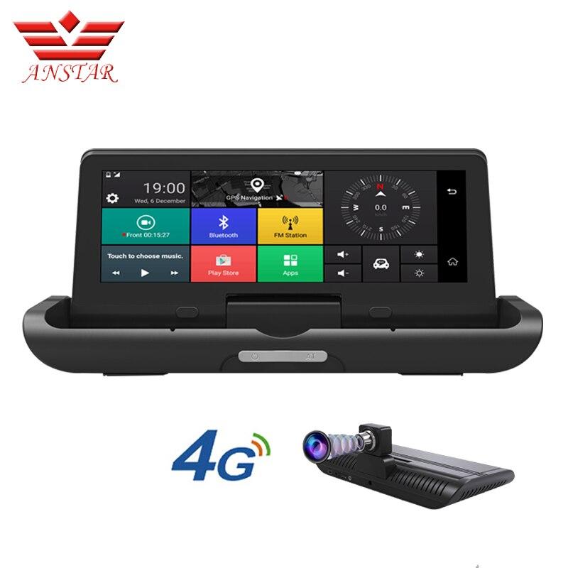 ANSTAR 8 polegada 4G ADAS Anti Radar Dvr Carro Traço Câmera Auto Câmera de Navegação GPS Espelho Gravador De Vídeo Traço cam Russo Versão