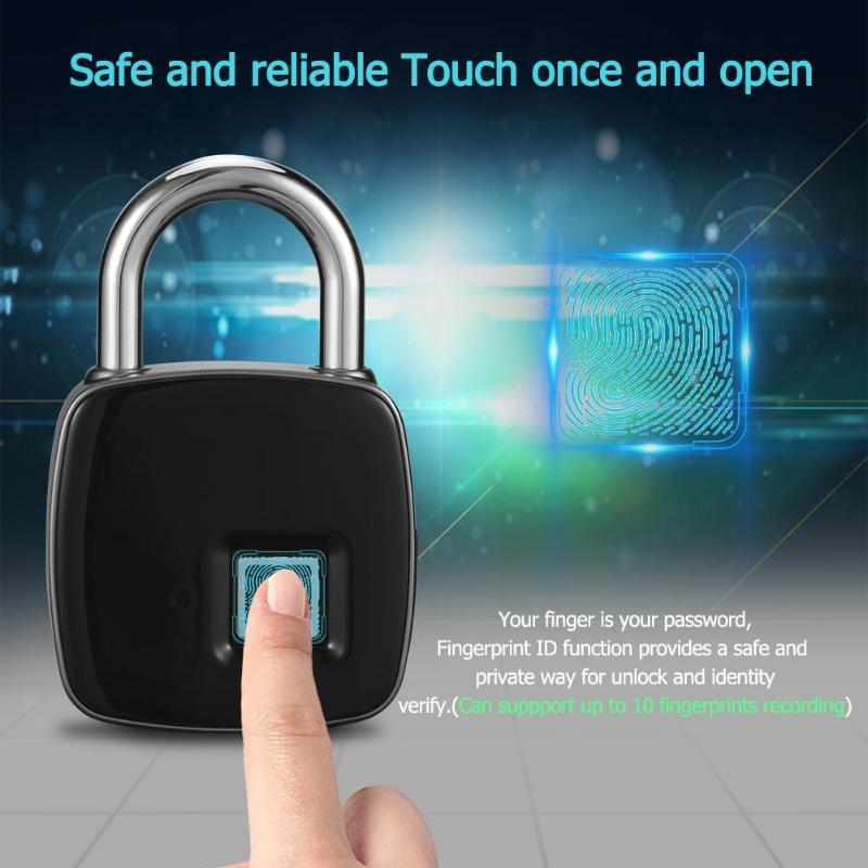 Huella digital candado inteligente huella IP66 diseño a prueba de polvo impermeable sin llave antirrobo candado maleta cerradura de la puerta