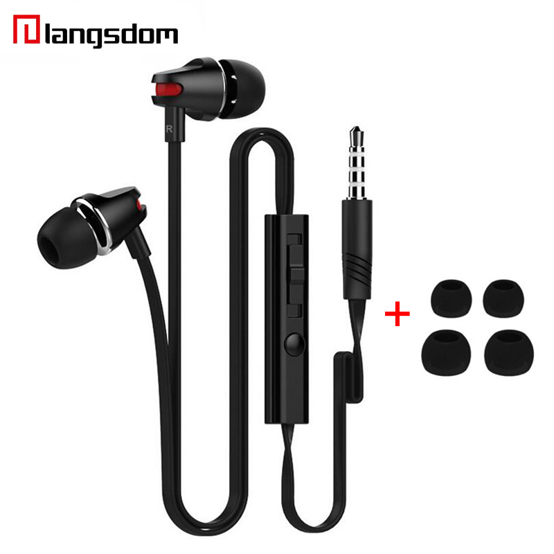Original Langsdom JV23 In Ear Earphone With Microphone Subwoofer Headsets With 35mm Wire Volume Control Bass Earphones For Phone nameblue st 33 sports bluetooth v4 0 in ear earphone headphone set w microphone volume control