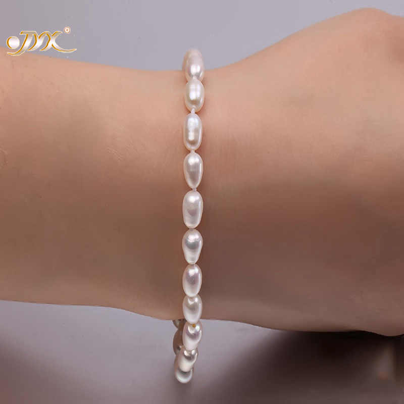 JYX 5-6mm White Oval  Cultured Natural Freshwater Pearl Bracelet Birthday Wedding Bracelet Gifts