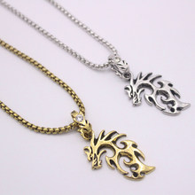 2019 new hip hop mens punk dragon necklace stainless steel cool leather chain pendant