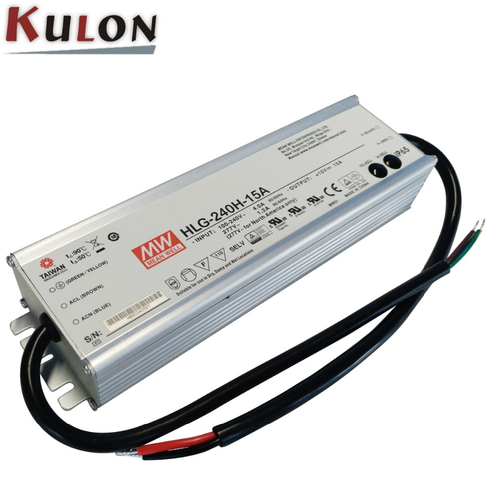 MEAN WELL HLG-240H-15A adjustable LED lighting power supply 225W 15V 15A 7 years Warranty gbu15k u15k80r 15a 800v