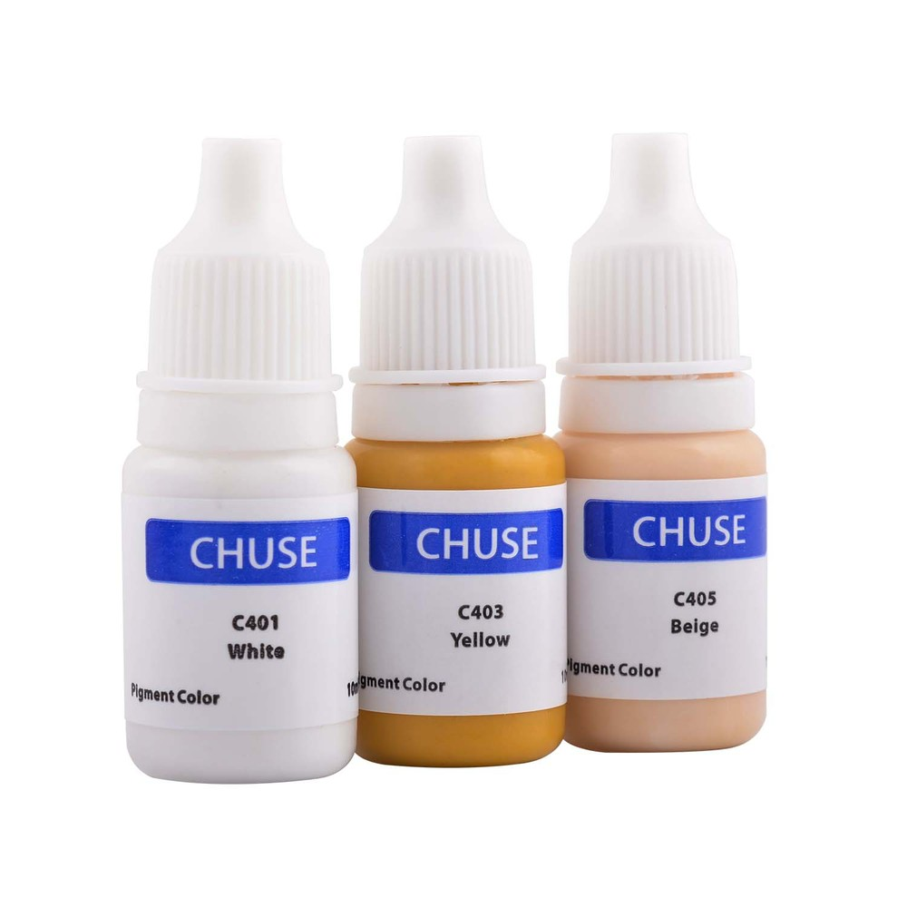 ФОТО CHUSE 3pcs C4 Semi-permanent Tattoo Ink Pigment Micro Pigment Colors for Corrector & Areola & Camouflage Whit