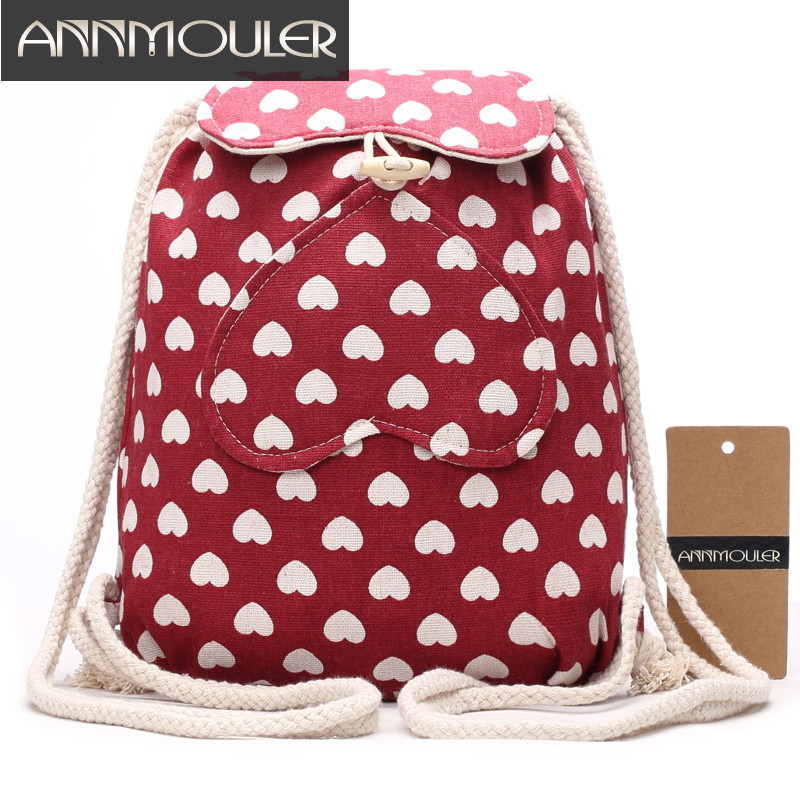 annmouler fabric backpack female cotton rucksack fashion polka dots