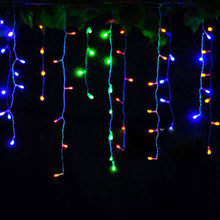 Connector 4M x 0.4M 0.5M 0.6M led curtain icicle string lights led fairy lights Christmas lamps Icicle Lights Xmas Wedding Party(China)