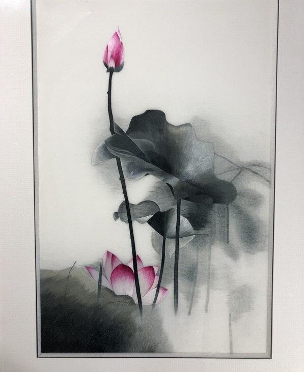 Fatti a mano 100% Seta Di Gelso Finito Suzhou Ricamo pittura a Inchiostro immagine di loto 40*60 centimetri-in Ricamo da Casa e giardino su  Gruppo 3
