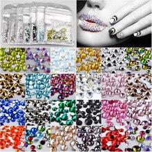 SS4-SS16 Mixed 300pcs Crystal Clear Nail Art Rhinestones DIY Non Hotfix Flatback Stones Gems For 3D Nails Decorations