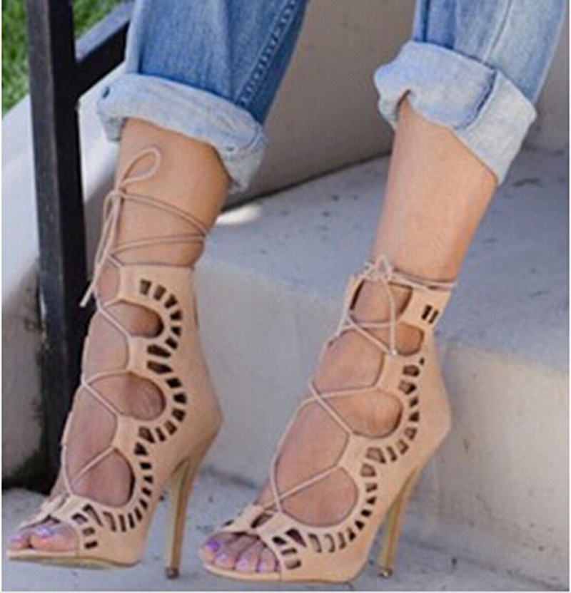 ФОТО Promotion fashion ankle strap high heel sandals boots cut-outs gladiator lace-up summer women dress sandal booties shoes