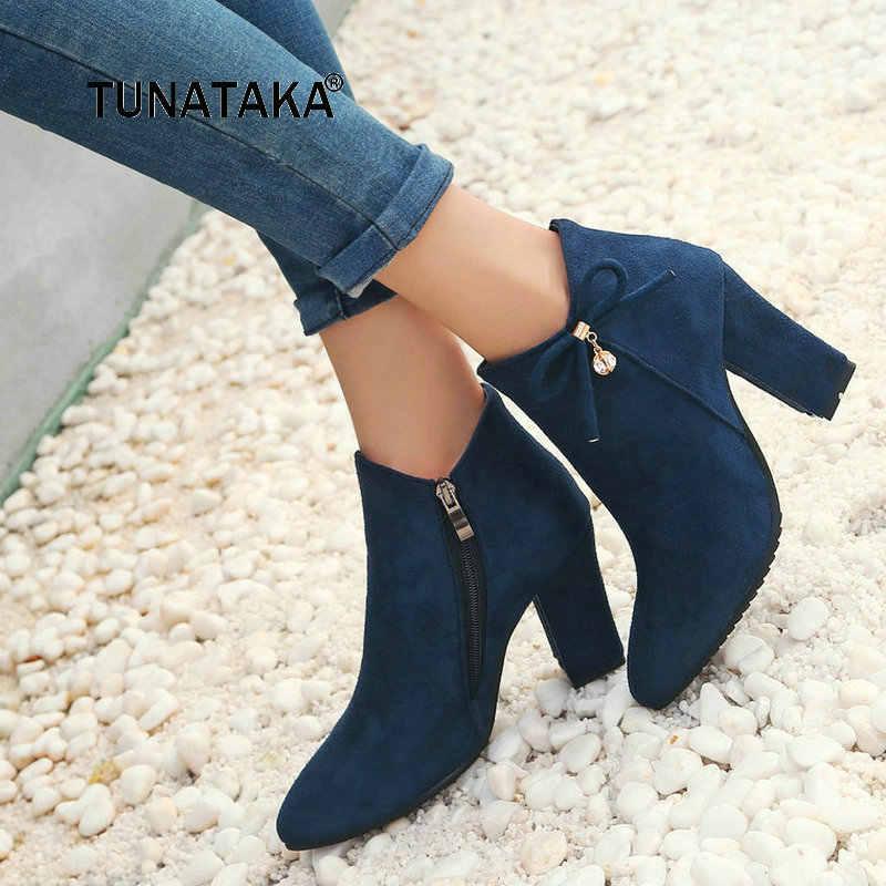 Kadın Akın Kalın Yüksek Topuk Yan Fermuar yarım çizmeler Sevimli Yay Düğüm Sivri Burun Kış Ayakkabı Siyah Kırmızı Mavi