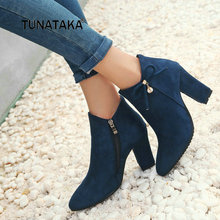 Women Flock Thick High Heel Side Zipper Ankle Boots Cute Bow Knot Pointed Toe Winter Shoes Black Red Blue