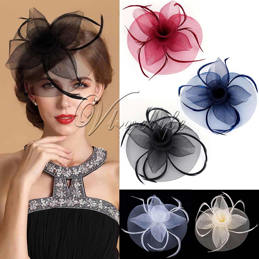 3234c04a8 Fashion Handmade Lady Women Fascinator Bow Hair Clip Headwear Lace Feather  Mini Hat Wedding Party Accessory Race 5 Colors