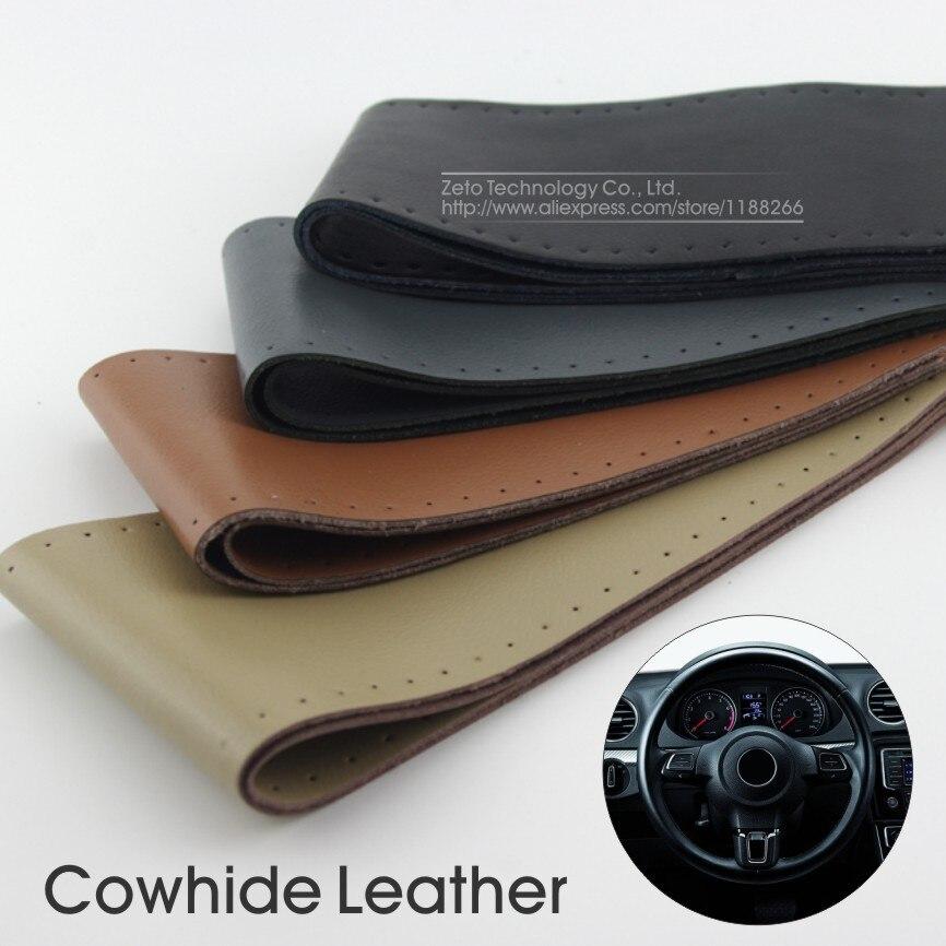 Steering Wheel Cover Genuine Cowhide Leather DIY Hand ...