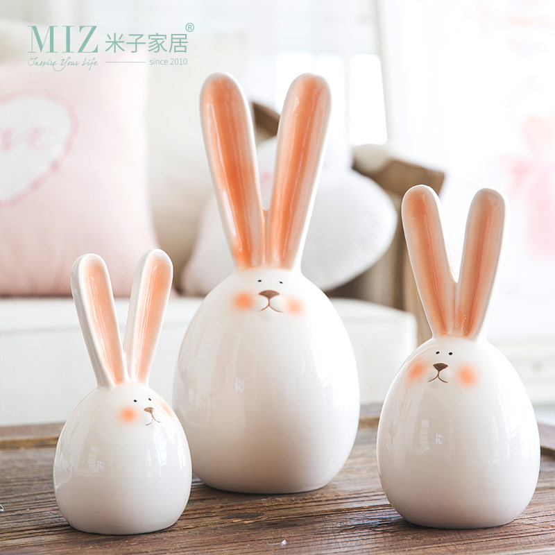 Miz 1 Piece Rabbit Figurine Home Decoration Accessories Ceramic Doll Birthday Gift for Kids Lovely Rabbit for Home Decor