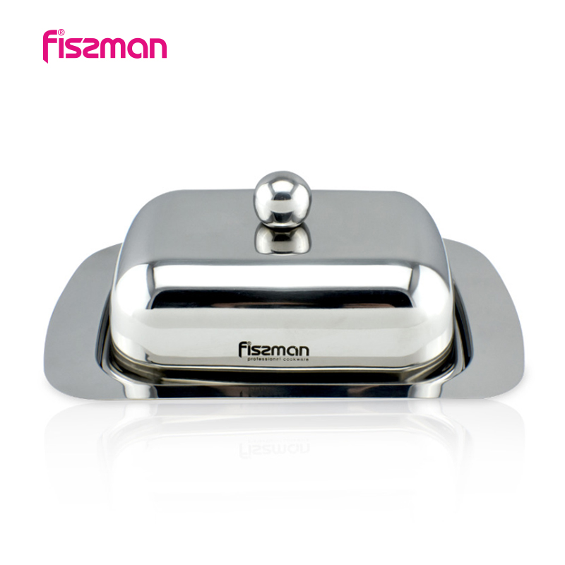 Fissman Durable Stainless Steel Butter Dish Box Container Cheese Server Storage Keeper Tray with Lid Kitchen Dinnerware
