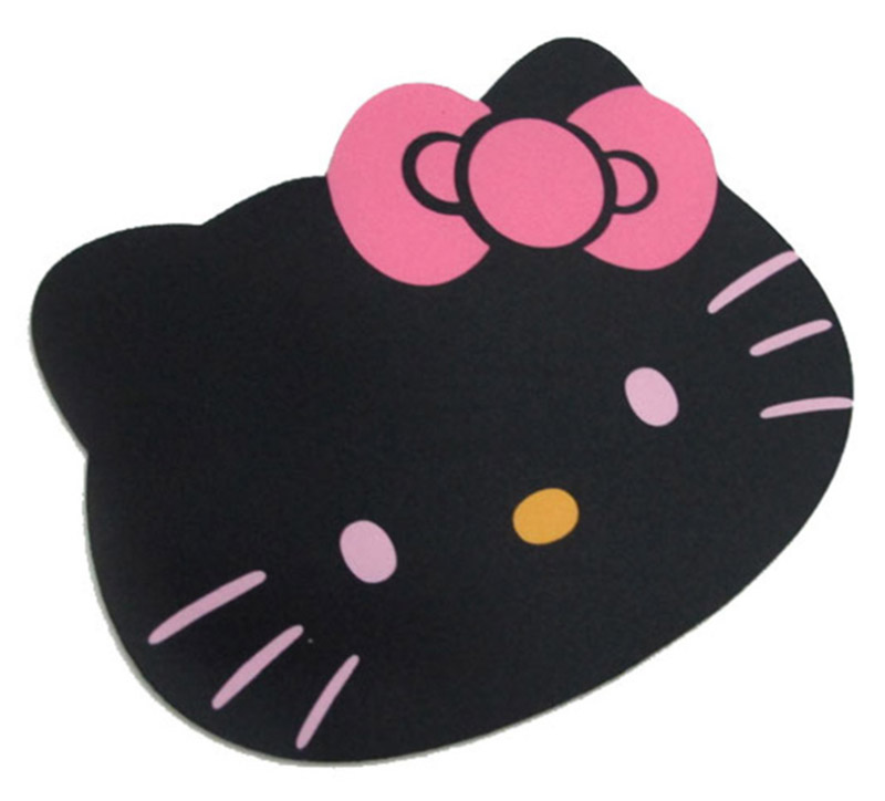 Mouse Pad HELLO KITTY Kawaii Cute Anime Cartoon Character Black Pink Computer PC Laptop Head Big face