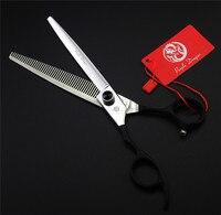 7,0 дюймов Профессиональный уход за питомцем вычесывание ножницы для левшей 440C высокое качество фиолетовый дракон ножницы для стрижки волос