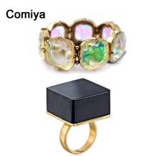 Comiya Indian Jewelry Black Square acrylic Wedding punk rings Elastic Rhinestone Bangles for women charms bracelet jewelry set