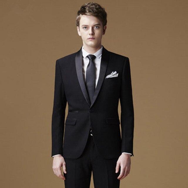 3c50d95a1 2017 الربيع حقيبة دعوى أسود الأعمال اللباس العريس الزفاف اللباس في سن  المراهقة الشاب عقد دعوى