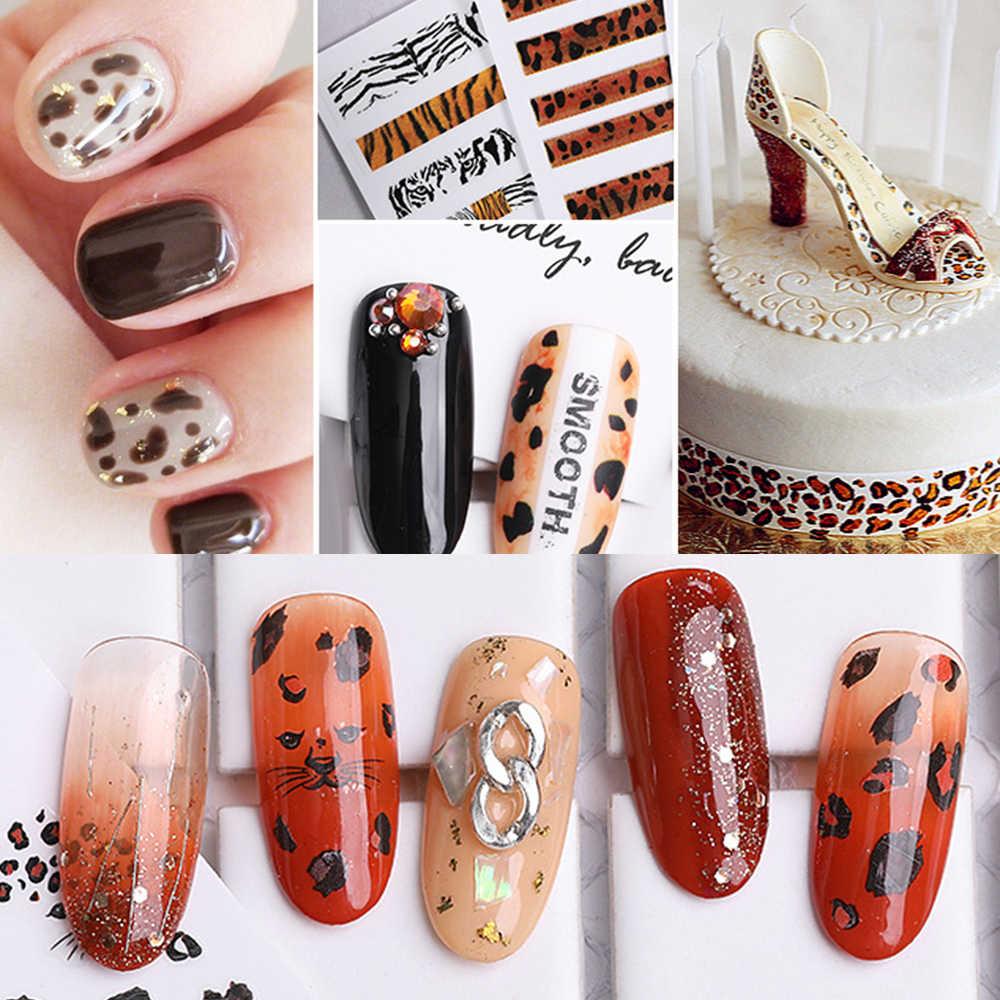 Wholesale Leopard Nail Sticker 3D Self-adhesive DIY Sticker Decals Matte Scrub Manicure Decals Nail Foil Nail Art Decorations