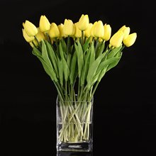Bestselling 10pcs Yellow Latex Tulip Flower with Leaves For Wedding Decorate