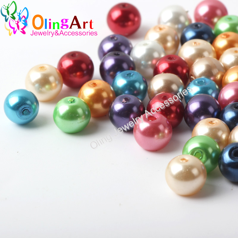 8MM 50PCS / Lot mixed multicolor round glass bead imitation pearls environmental quality DIY jewelry accessories free shipping