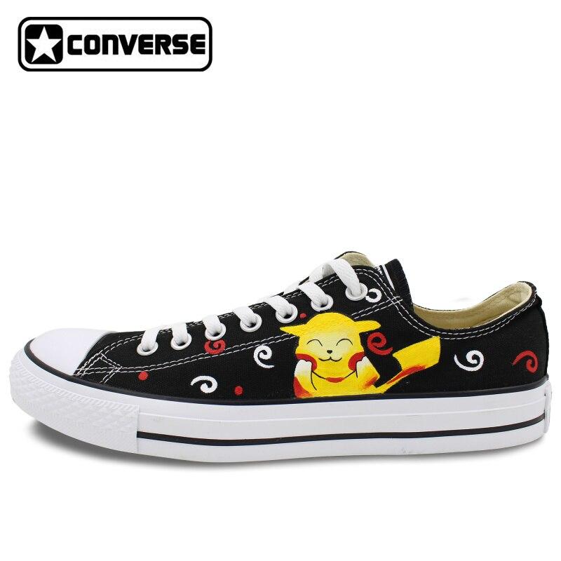 Prix pour Low Top Converse All Star Peint À La Main Chaussures Pokemon Pikachu Design Personnalisé Hommes Femmes de Toile Sneakers Planche À Roulettes Chaussures