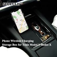 1pc SEEYULE New Car Phone Wireless Charging Storage Box Center Console Container Armrest Organizer for Tesla Model S Model X
