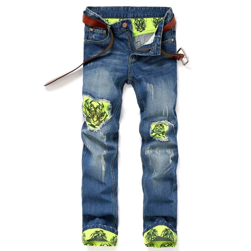 #1549 2016 Steller patchwork Slim fit jeans men Fashion Male ripped jeans Destroyed Mens designer jeans Distressed jeans printed