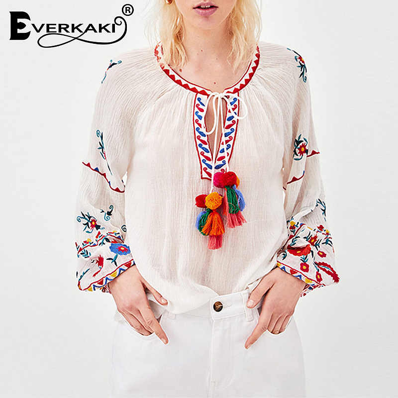 4e5d8a1c9e7410 Detail Feedback Questions about Everkaki Women Boho Floral Embroidery  Tassel Blouse Tops Shirts O Neck Long Sleeve Bohemian Top Blouses Female  2019 Summer ...