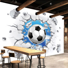 Custom 3D Mural Wallpaper Modern Simple Football Broken Wall Photo Wall  Murals Kids Bedroom Living Room Creative Decor Wallpaper