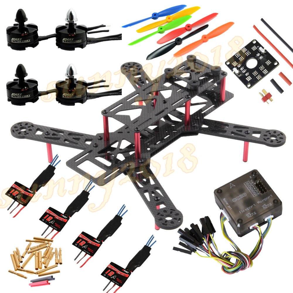 FPV 250 Mini Quadcopter Racing Sport Drone Super Combo w/ CC3D Flight Controller MT2204 2300KV Motor Simonk 12A ESC FC 6045 Prop f17010 diy fpv mini drone autopilot combo set mini cc3d revolution flight controller op gps osd oplink 433mhz mini kit