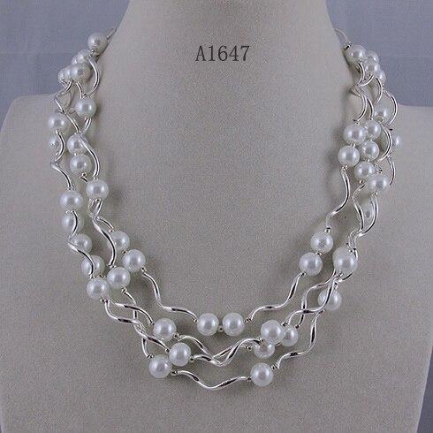 Bijouterie perles uniques, Tube en argent à 4 rangées avec collier de perles en coquillage blanc de 8mm, fermoir aimanté, cadeau de mariage de charmante fille