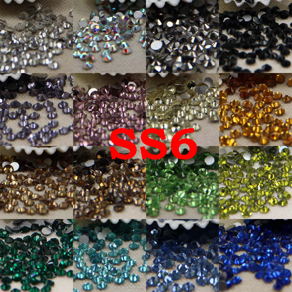 SS6 24 Colors About 1440pcs 3D Nail Art Glass Rhinestone Non Hotfix Flatback Glue On Rhinestones For DIY Nail Art super shiny 5000p ss16 4mm crystal clear ab non hotfix rhinestones for 3d nail art decoration flatback rhinestones diy
