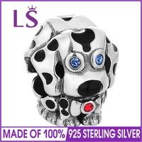 LS Biżuteria Emalia Pies Paciorek Charm Fit 925 Sterling Silver Bransoletki Bransolety Zaręczynowe Biżuteria