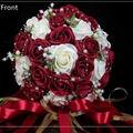 Moda Barato Borgoña Boda Ramo Color de Rosa/Rojo/Blanco/Borgoña dama de Honor Nupcial de La Flor Artificial Flor de Rose Ramo de Novia