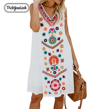 Plus Size Summer Women Dress Sleeveless Floral Printed V Neck Loose Female Lady Casual Large Vestidos D