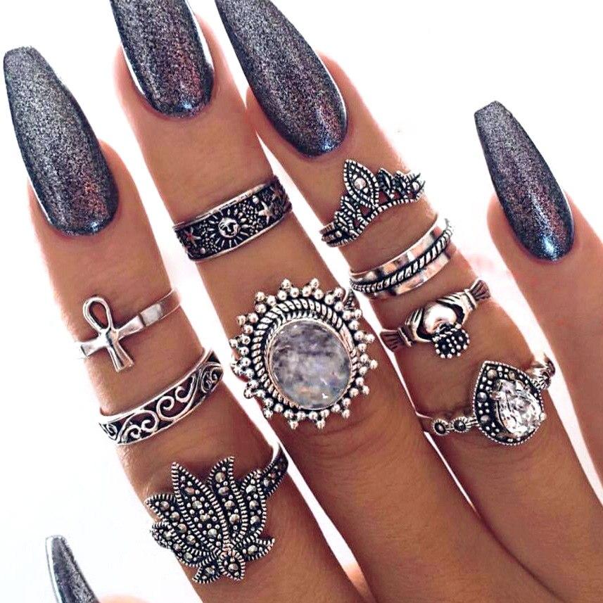 9 Teile/satz Knuckle Ring Set Für Frauen Antik Silber Farbe Kristall Lotus Krone Kreuz Sun Totem Mitte Fingerringe Herz Schmuck Diversifizierte Neueste Designs