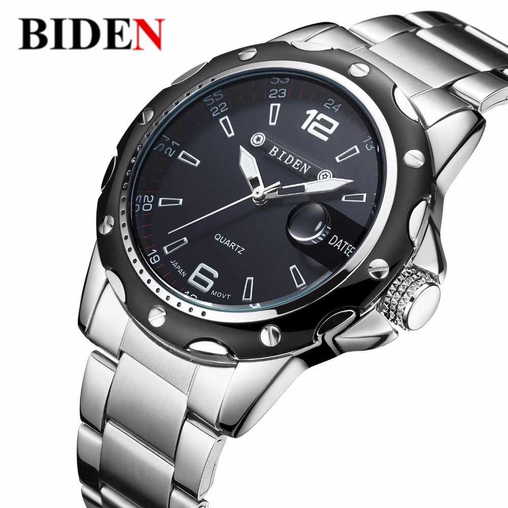 sports military watches men quartz Clock fashion full steel casual watch Auto Date 30m waterproof wristwatches relogio masculino
