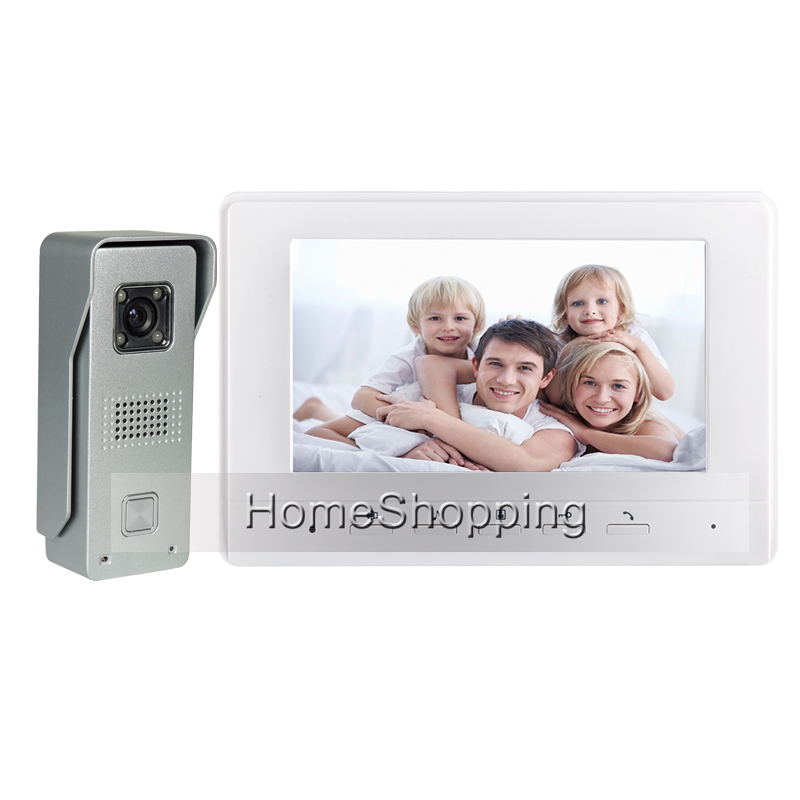 FREE SHIPPING New 7 Color Screen Video Intercom Door Phone System + Metal Night Vision Outdoor Door Camera IN STOCK Wholesale free shipping new 9 inch color tft lcd screen video door phone intercom system 1 night vision door camera 1 monitor in stock