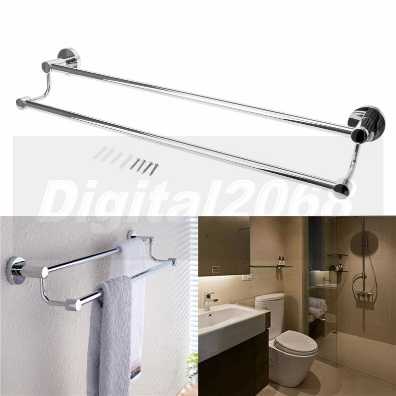 2016 New Silver Double Towel Bar Stainless Steel Wall Mounted Towel Shelf 60*14.5*5.5CM Free Shipping недорого