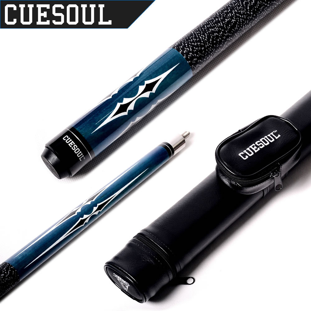 CUESOUL Unique Design 1/2 Jointed Billiard Pool Cue with Brown & Black & Green & Red Cue Case