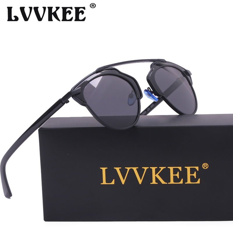 LVVKEE brand Classic Cat Eye Mirror Polarized Sunglasses Mens or Womens Superstar Rihanna Female Sun glasses So Real CD Sunglass