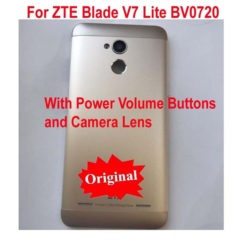 100% Original New For ZTE Blade V7 Lite BV0720 Back Battery Cover Door Housing Case Rear Glass Camera Lens +Power Volume Buttons