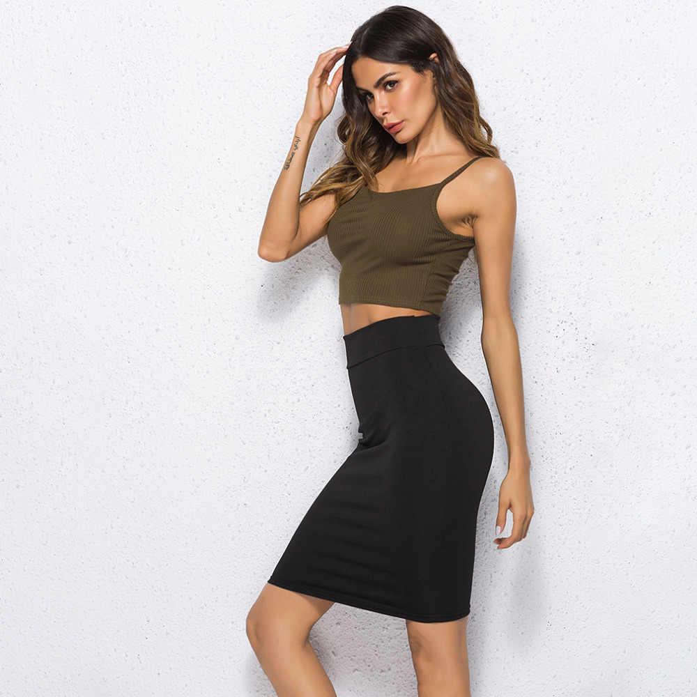 שחור מוצק נשים חצאית למתוח Bodycon ישר נשים חצאית מזדמן עבודת OL משרד נשים חצאית קיץ סקסי נהיגה לראשונה חצאית
