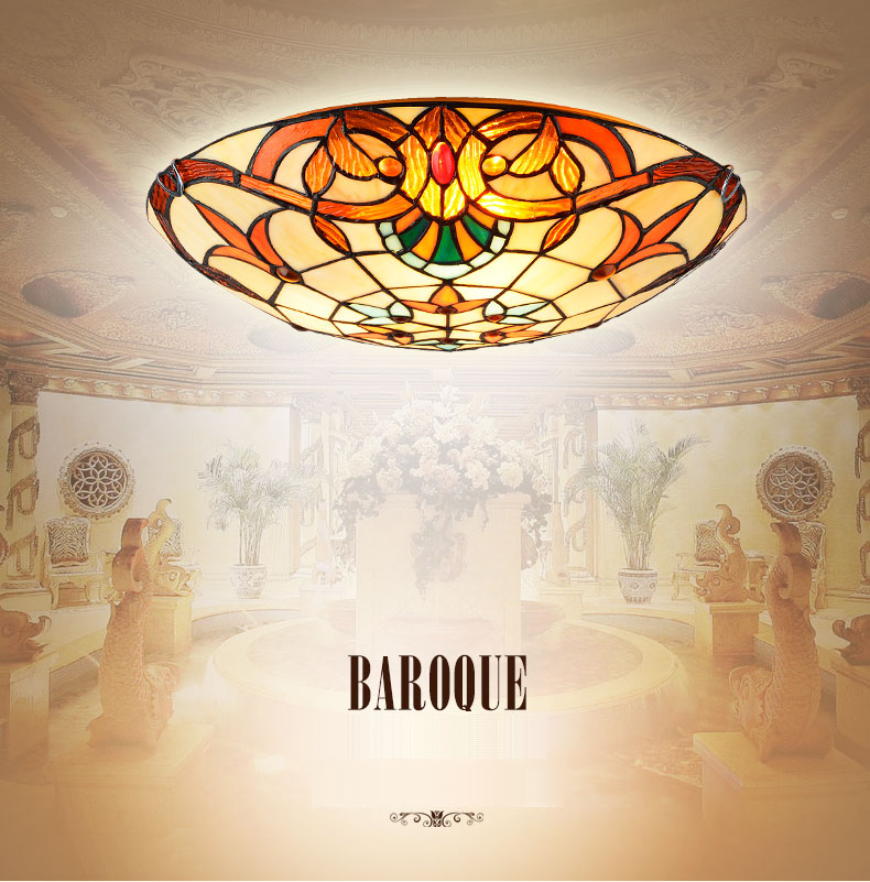 Modern Baroque Tiffany Style 12/16/20 inch LED E27 Pastoral Ceiling Light with Round Glass Lampshade lamparas de techo abajurModern Baroque Tiffany Style 12/16/20 inch LED E27 Pastoral Ceiling Light with Round Glass Lampshade lamparas de techo abajur
