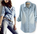 Hot Fashion Women Jeans Shirt Summer 2015 New Woman Long Sleeve Jeans Denim Shirt Women's Camisa Jeans Feminina Plus Size