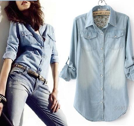 Hot Fashion Women Jeans Shirt Summer 2015 New Woman Long Sleeve Jeans Denim Shirt Women's Camisa Jeans Feminina Plus Size