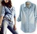 Hot Mulheres Moda Jeans Camisa Verão 2015 Nova Mulher Manga Longa Calça Jeans Camisa jeans Camisa Jeans Feminina das Mulheres Mais tamanho